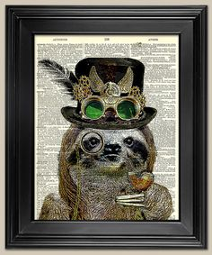 Steampunk Sloth Upcycled vintage book page art by BookwormSalon, $8.99