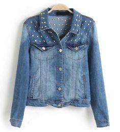 Light Blue Rivets Detailing Denim Jacket