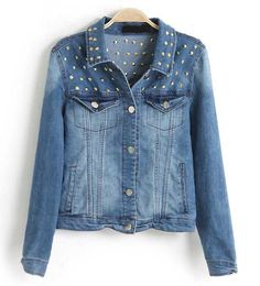Light Blue Rivets Detailing Denim Jacket