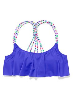 Knotted-Back Flounce Crop Top PINK
