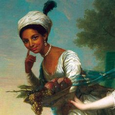 Dido Elisabeth Belle (1761 - 1804), the first British aristocrat of African descent. Born to an enslaved African woman, Maria Belle, and Sir John Lindsay, eventually an Admiral in the British Navy. She was brought up by her father's uncle, William Murray, Lord Chief Justice. She was depicted in 2013 in a beautiful movie: Belle.    Seen here in a close-up of a painting with cousin Lady Elizabeth Murray by Johann Zoffany (1779)