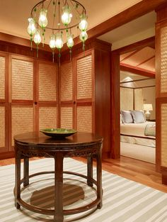 Love the doors in this master closet, to continue the tropical feel of the master retreat!
