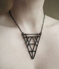 Copper Geometric Necklace - Art Deco Revival Necklace - Tri Geometric - handmade copper jewelry - gift for her. $45.00, via Etsy.