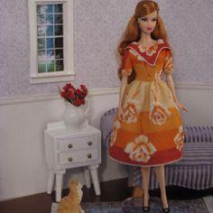 Ooak Barbie doll dress made from vintage hankie