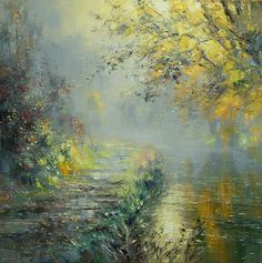 'Morning Mist, Wolfscote Dale' by Rex Preston. Part of his two man exhibition with Mark Preston, opening at gallerytop on 3 October 2015