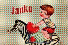 Geboortekaartje jongen - retro - jongetje op zebra - Pimpelpluis - https://www.facebook.com/pages/Pimpelpluis/188675421305550?ref=hl (# retro - zebra - kleurrijk - lief - stoer - mannetje - dieren - hartje - origineel)