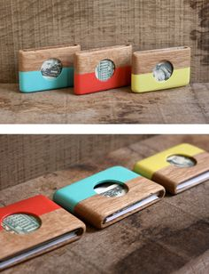 Look at these super cool wooden wallets by HAYDANHUYA, They are made from either oak or walnut and are handmade in Instanbul. They're quite spiffy, although th