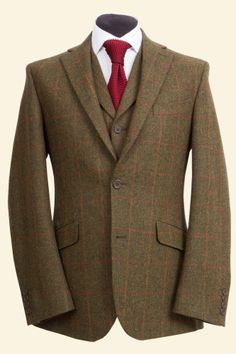 Green Lambswool Red Windowpane Tweed Edward Jacket - Tweed Suit Jackets - Clothing - Men Walker Slater Tweed Specialists