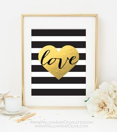 LOVE HEART Faux Gold Foil Art Print - Black & White Stripe - Home Office Decor - Imitation Gold Leaf - Gold Love Heart - Anniversary Gift by WillowAndOlive on Etsy https://www.etsy.com/listing/192572544/love-heart-faux-gold-foil-art-print