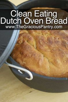 "Clean Eating Dutch Oven Bread - lactose free, just gotta find ""vital wheat gluten"" somewhere. Dutch Oven Bread, Dutch Oven Cooking, Dutch Oven Recipes, Cast Iron Cooking, Clean Eating Recipes, My Recipes, Real Food Recipes, Cooking Recipes, Yummy Food"