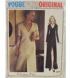 A Vogue Paris Original dress pattern designed by Christian Dior no 2607.  Sizes are from 8 to 16 and the pattern is uncut and has included a Vogue Original sew in label.