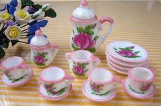 DollHouse Miniatures Dishes Porcelain Rose Tea Set