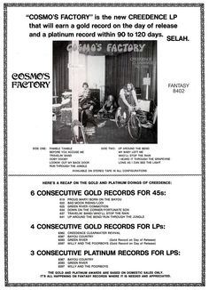 Creedence Clearwater Revival : Cosmo's Factory Cosmo's Factory, John Fogerty, Creedence Clearwater Revival, Vintage Signs, Flyers, Cosmos, Promotion, Musicals, Pop