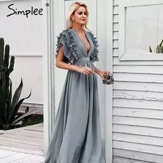 822a3ed7ae7 Simplee элегантные длинные платья с v-образным вырезом
