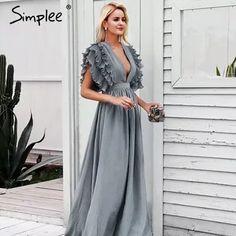 995507de0a2fa Simplee элегантные длинные платья с v-образным вырезом, с оборками, с  высокой талией, женские платья для вечеринки, женское сексуальное платье  макси, ...