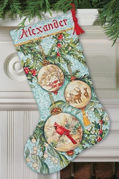 Enchanted Ornament Cross-Stitch Christmas Stocking Kit