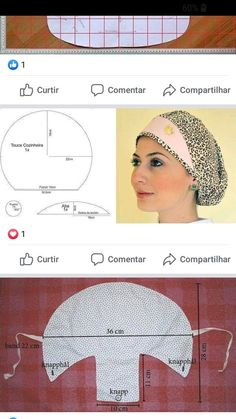 Scrub Hat Patterns, Hat Patterns To Sew, Sewing Patterns, Turban Headband Tutorial, Scrub Hats, Sewing Accessories, Fashion Sewing, Sewing Techniques, Sewing Clothes