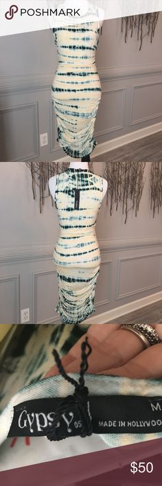 NWT! Gypsy 05- Flattering Body Con Midi Most flattering dress ever! Ruched in all of the right places! Pretty light yellow and green tie die. Perfect! NWT! Gypsy 05 Dresses Midi