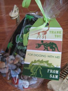A 6th Birthday Dino-Dig Party Favor Tag