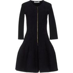 Dior Short Dress (114.030 RUB) ❤ liked on Polyvore featuring dresses, dark blue, long sleeve flare dress, longsleeve dress, dark blue short dress, mini dress and long-sleeve mini dress