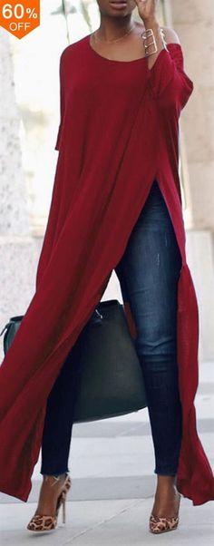 S-5XL Casual Women Side Split Long Maxi Shirts. Brief,Casual, Half Sleeve, O-Neck. Color:Black,Blue,Purple,Red. Size:S,M,L,XL,XXL,XXXL,XXXXL,5XL. Suitable in Fall,Spring,Summer. Buy now! #women #blouse #fashion #CruisesTips