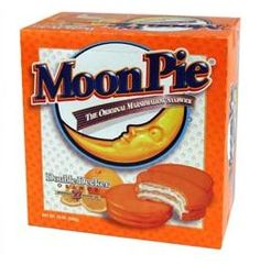MoonPies were invented in Chatanooga, Tennessee in 1917.  MoonPies come in chocolate, vanilla, strawberry, and banana; Double Decker MoonPies also come in lemon and orange; and MoonPie Crunch comes in peanut butter and mint. Nowadays, you're more likely to find 'em only in chocolate and banana... but don't touch the banana ones if you value your taste buds.