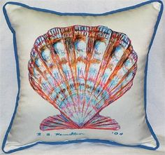 Scallop Shell Indoor Outdoor Pillow. Featuring artwork by R.B Hamilton. $39.00. Would love this for out by the pool!!!