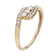 Round-Cut Diamond Swirl Engagement Ring in 10k Gold (1/4 ct. T.W.), Women's, Size: 7, White