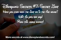If you have ever wandered past the fire house and noticed a light on in the upper window there is a reason behind it. When the original Disneyland was being built, Walk Disney had a small apa. Disney Secrets In Movies, Disney Tips, Disney Love, Disney Magic, Disney Stuff, Disney 2017, Disney Planning, Disneyland World, Disneyland Secrets