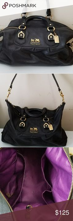 Coach women's leather bag Very very lightly used coach women's leather handbag with removable shoulder strap and purple satin interior (1 zippered compartment and two cell phone or accessory holders built in) Coach Bags Shoulder Bags