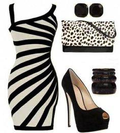 Black and white pary dress