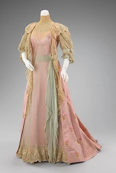Dress (Tea Gown)  House of Worth  (French, 1858–1956)  Designer: Jean-Philippe Worth (French, 1856–1926) Date: 1900–1901. This shows the luxurious lifestyle indicative of prominent women of the time. The teagown could be worn without a corset and was therefore a more comfortable form of dress in which one could greet guests at home. Teagowns were a particular vehicle for historicism and fantasy as evidences here with its deliberate interpretation of the 18th-century robe and petticoat form.