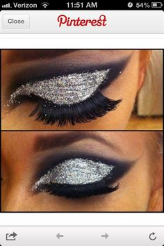 Silver and black eye makeup