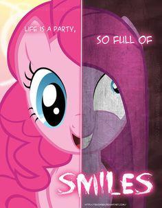 #81558 - artist:tehjadeh, duality, pinkamena diane pie, pinkie pie, poster, safe, two sided posters - Derpibooru - My Little Pony: Friendshi...