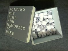 DIY Valentines Day Memory Box by Sarah Barksdale Design (just one or two lines to describe a memory of something you've done together. Cut them into strips and roll them up) Making Memories, Sweet Memories, Valentines Diy, Valentine Day Gifts, Memorial Day Movie, Memorial Day Decorations, Memorial Ideas, Funeral Planning, Funeral Ideas