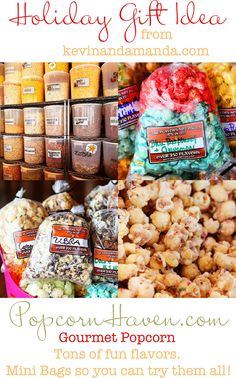 Popcorn Haven -- over 250 popcorn flavors. Definitely going to buy some gifts here! Homemade Popcorn, Flavored Popcorn, Gourmet Popcorn, Popcorn Recipes, Gourmet Desserts, Candy Popcorn, Popcorn Bags, Popcorn Shop, Concession Food