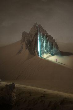 a light in the mountain - fantasy art