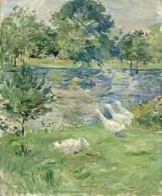 Girl in a Boat with Geese, ca. 1889, by Berthe Morisot