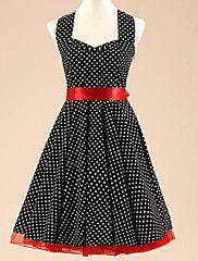 Women's Halter 50s Retro Polka Dots Rockabilly Swing Dress(Not Include Petticoat)
