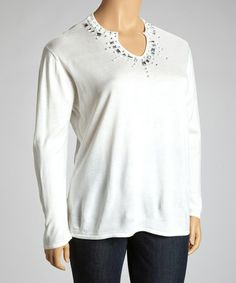 Take a look at this White Embellished V-Neck Sweater - Plus by Jenny on #zulily today!