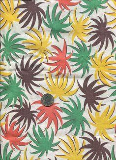 VINTAGE 1940s  FEEDSACK FABRIC~YELLOW+GREEN+ORANGE~~ORIG COND
