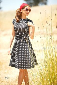 Dance Floor Date A-Line Dress in Dots | Mod Retro Vintage Dresses | ModCloth.com