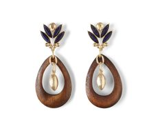 The Eva Mendes Collection Teardrop Wood Earrings