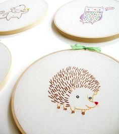 KIT embroidery hedgehog wall art by penguinandfish on Etsy