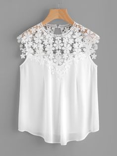 Keyhole Back Daisy Lace Shoulder Shell Top WHITE