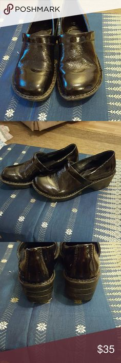 Born all leather work shoes Size 7 and a half or 38.5 ladies all leather work slip on shoes black patent leather great condition Born Shoes Mules & Clogs
