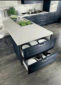 40 small kitchen storage ideas for a more efficient space 12 Refacing Kitchen Cabinets, Modern Kitchen Cabinets, Kitchen Cabinet Design, New Kitchen, Kitchen Storage, Kitchen Decor, Kitchen Ideas, Hidden Kitchen, Kitchen Island
