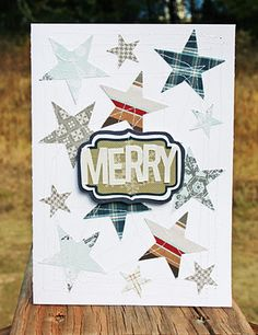 I punched out a bunch of stars with two different size punches and randomly sprinkled them across my card. I then used my sewing machine to stitch them all down.