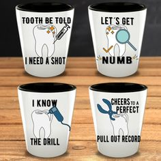 Dental Gift Funny Shot Glasses Set – Dentists guaranteed to love it! This dental humor Glasses are a great gift idea for dental professionals that love shots. Teeth Whitening Products One Teaspoon