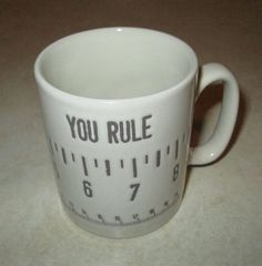 YOU RULE CERAMIC COFFEE MUG RULER MEASUREMENT TAPE NEW WITH FLAW 🍵✏️📏